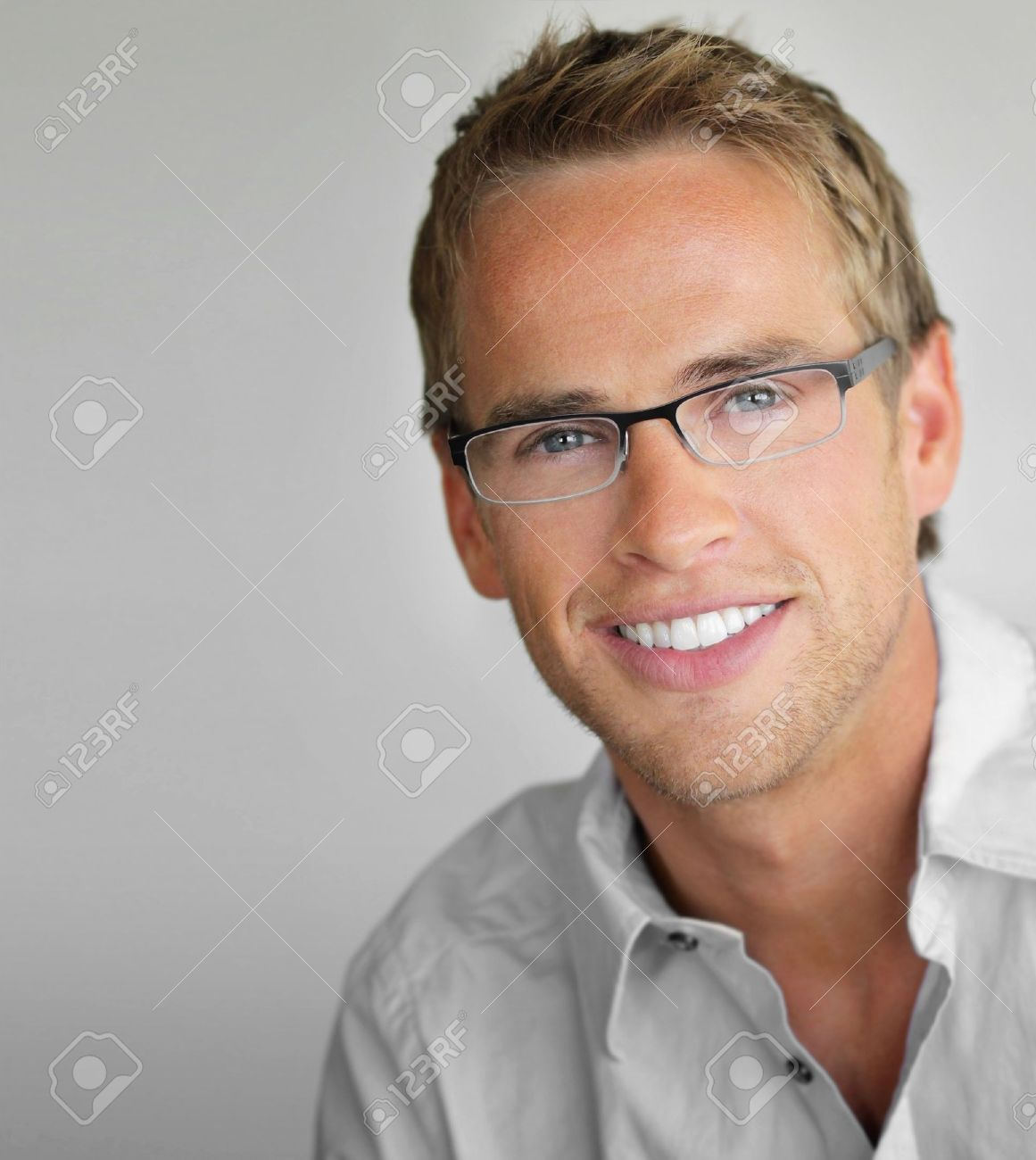 Young Cool Trendy Man With Glasses Smiling Stock Photo, Picture ...
