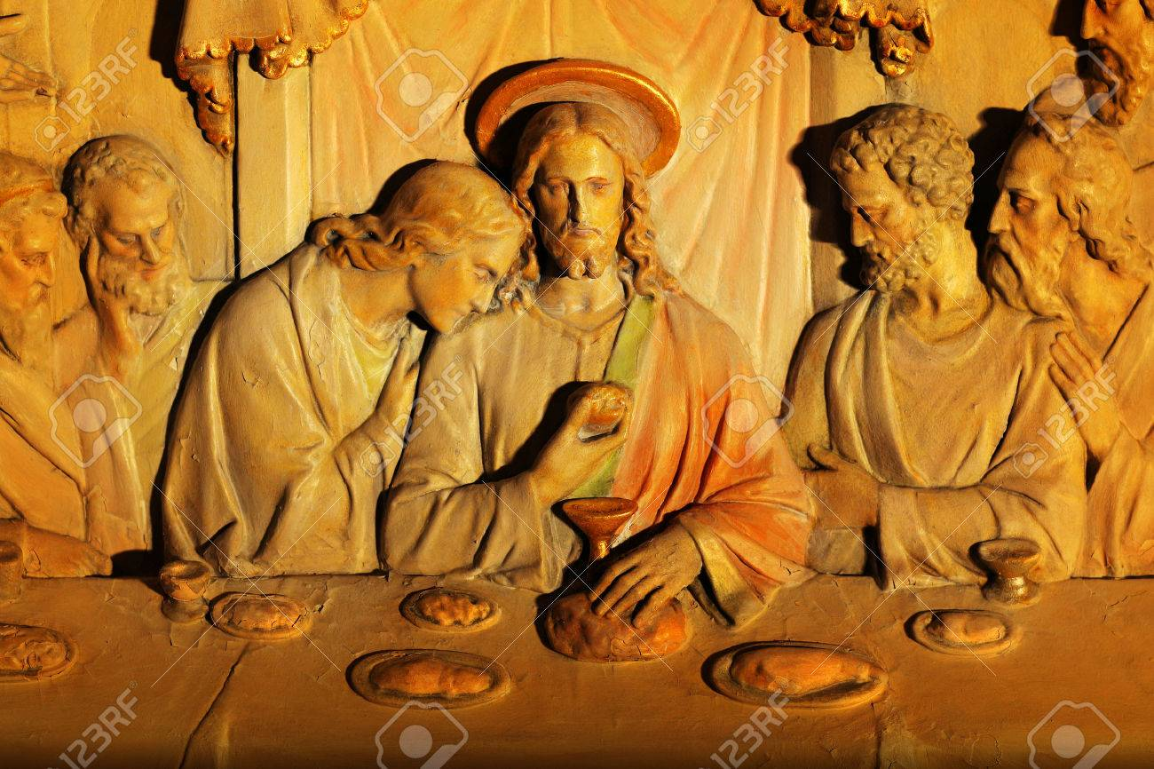 Wood carving of the last supper from old church est s