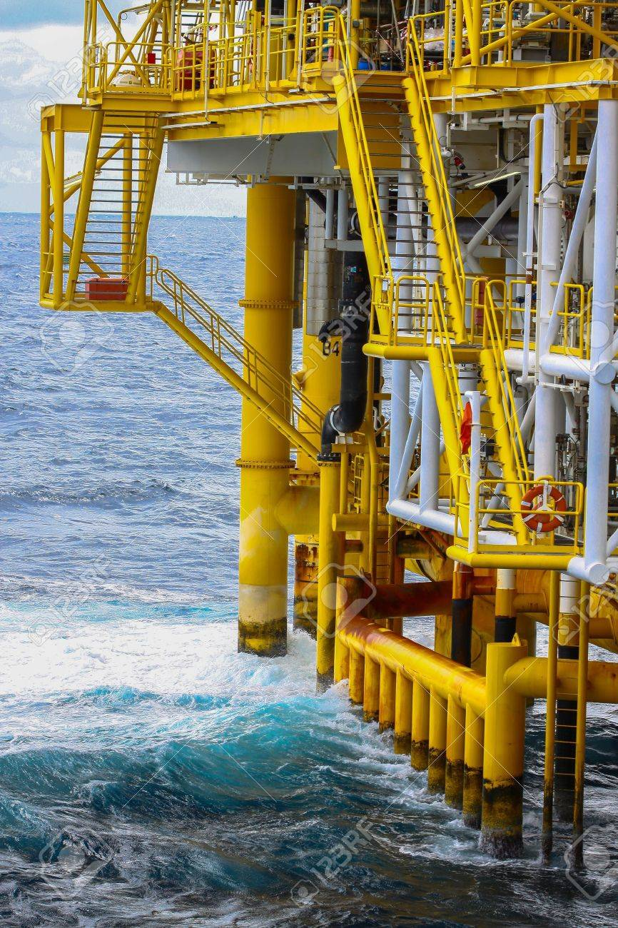 Oil and Gas Producing Slots at Offshore Platform Stock Photo - 22126716