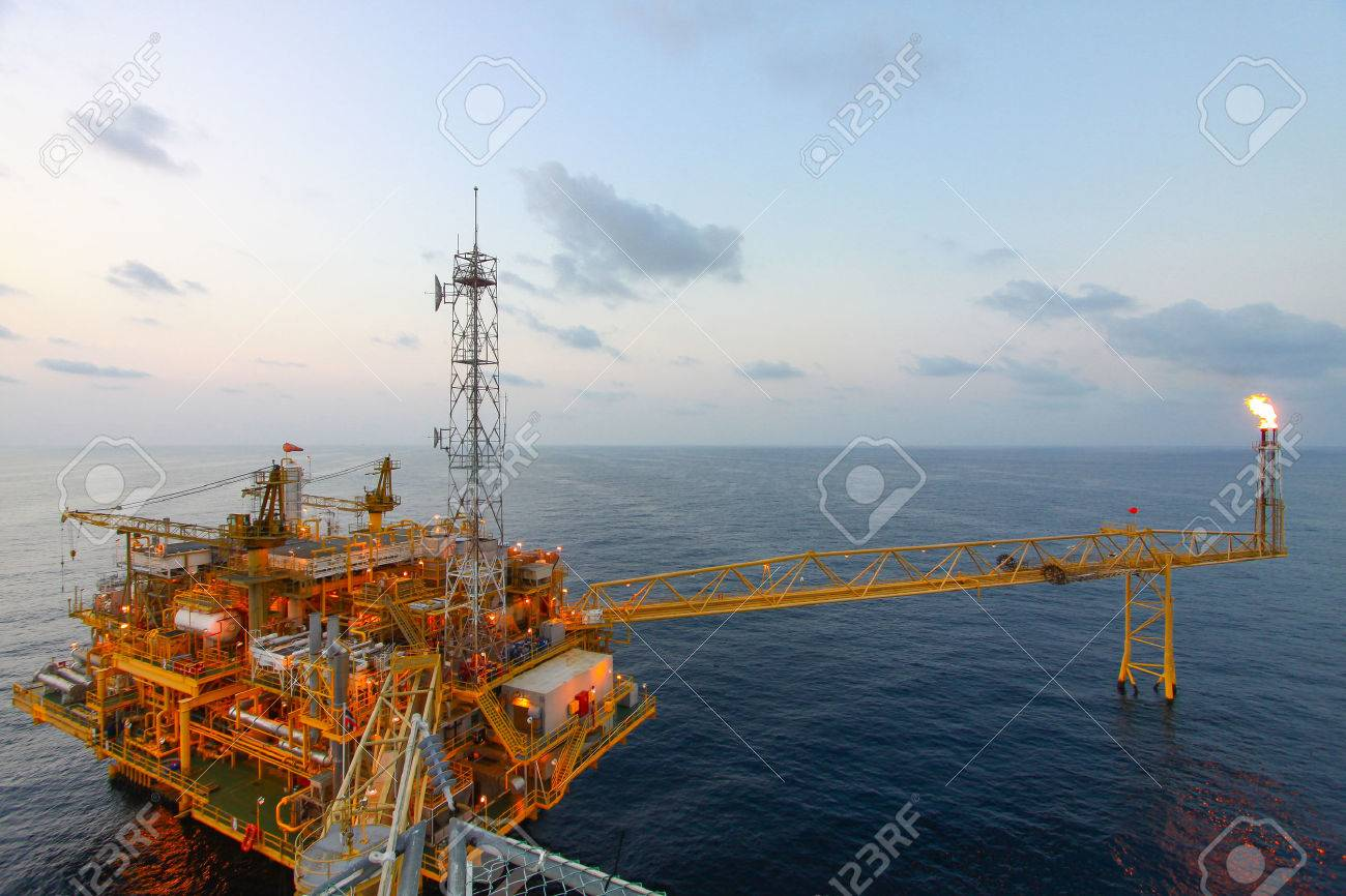 Oil and gas platform in offshore,World energy, The construction for petroleum society Stock Photo - 22922212