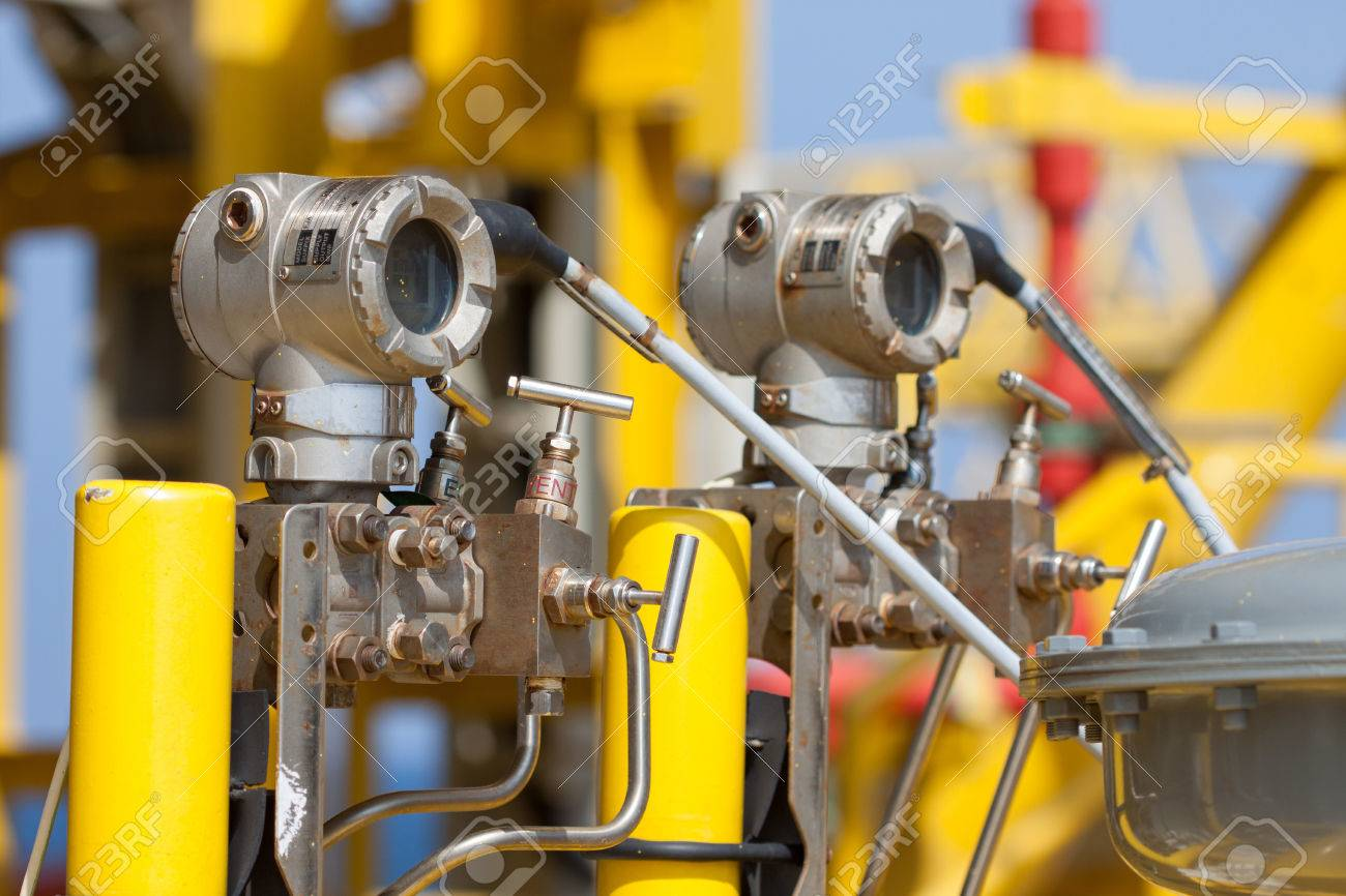 Pressure transmitter in oil and gas process , send signal to controller and reading pressure in the system Stock Photo - 24425599