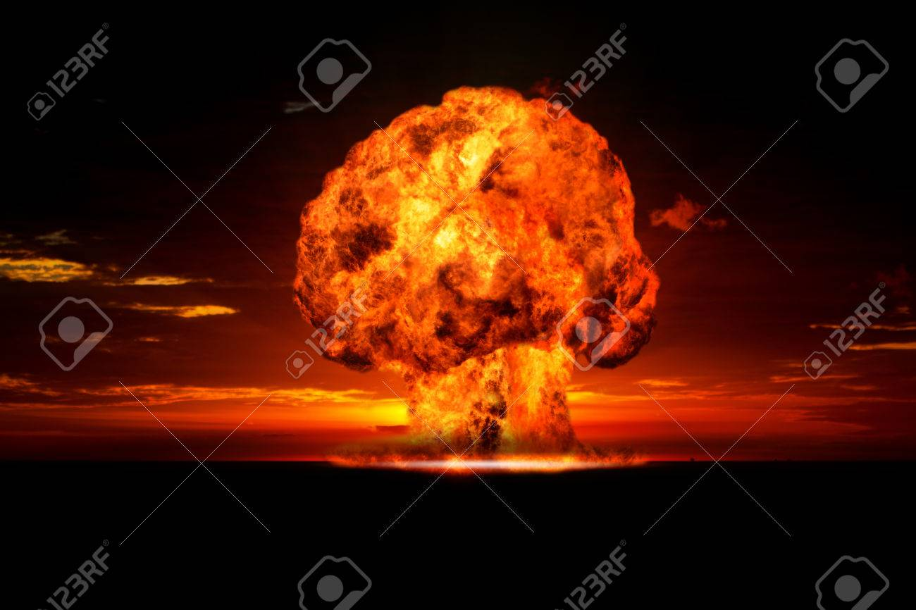 Nuclear explosion in an outdoor setting  Symbol of environmental protection and the dangers of nuclear energy Stock Photo - 24425619