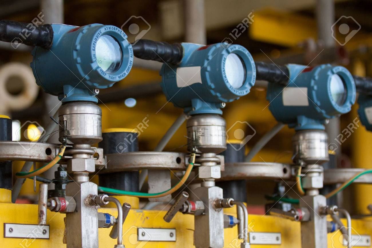Pressure transmitter in oil and gas process , send signal to controller and reading pressure in the system. Stock Photo - 31631475