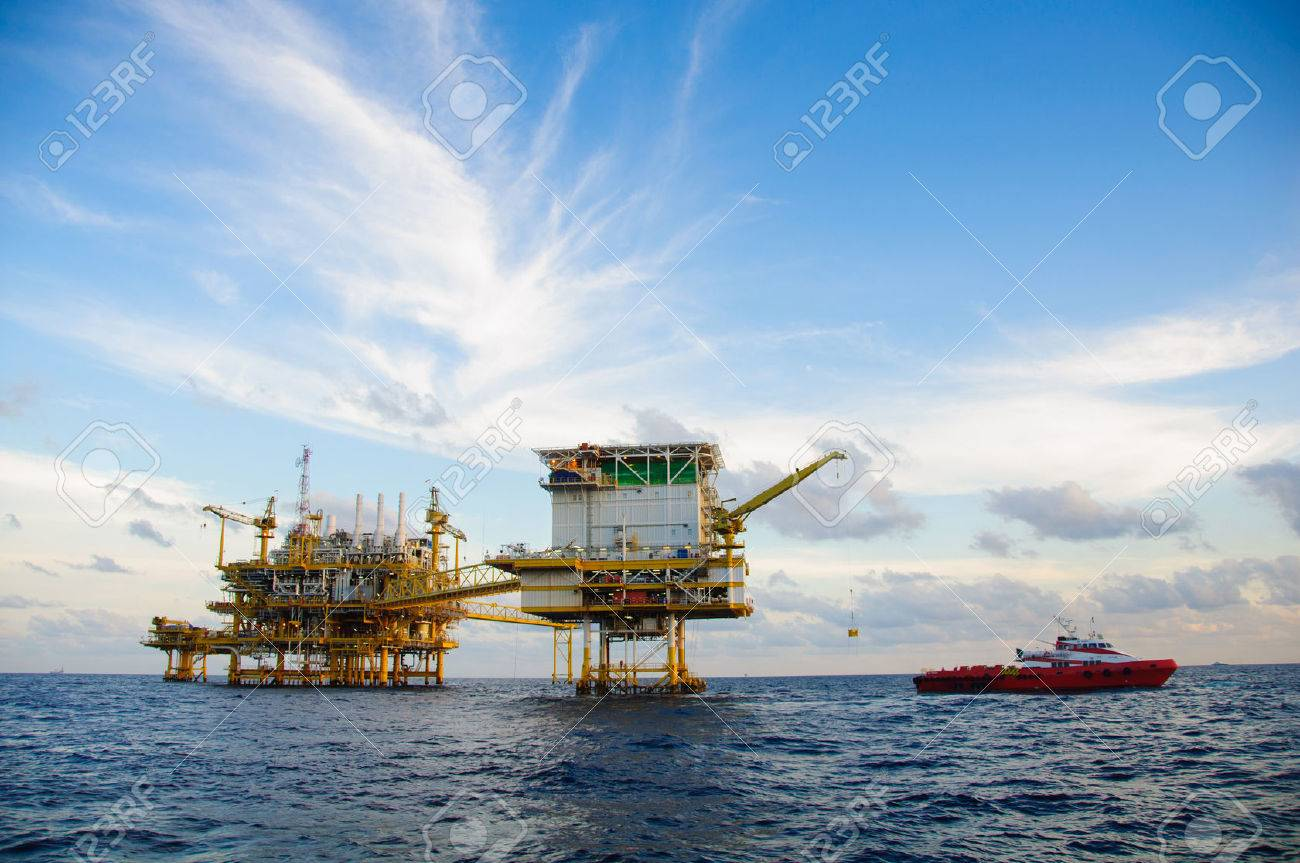 Oil and gas platform in the gulf or the sea,  Offshore oil and rig construction, Energy business. Stock Photo - 37637079