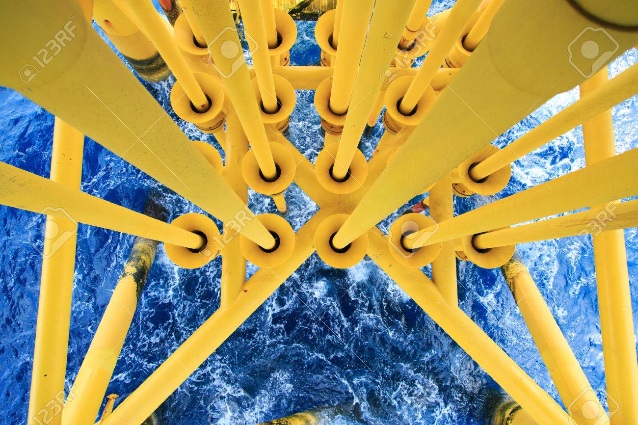 Oil and Gas Producing Slots at Offshore Platform, Oil and Gas Industry. Well head slot on the platform or rig. Production and Explorer industry. Stock Photo - 42734839