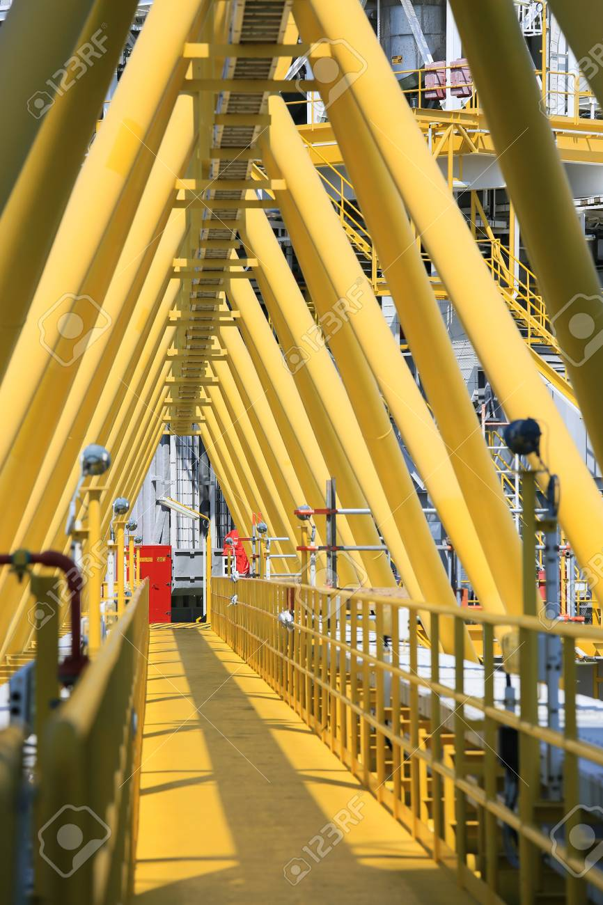 Gangway or walk way in oil and gas construction platform, oil