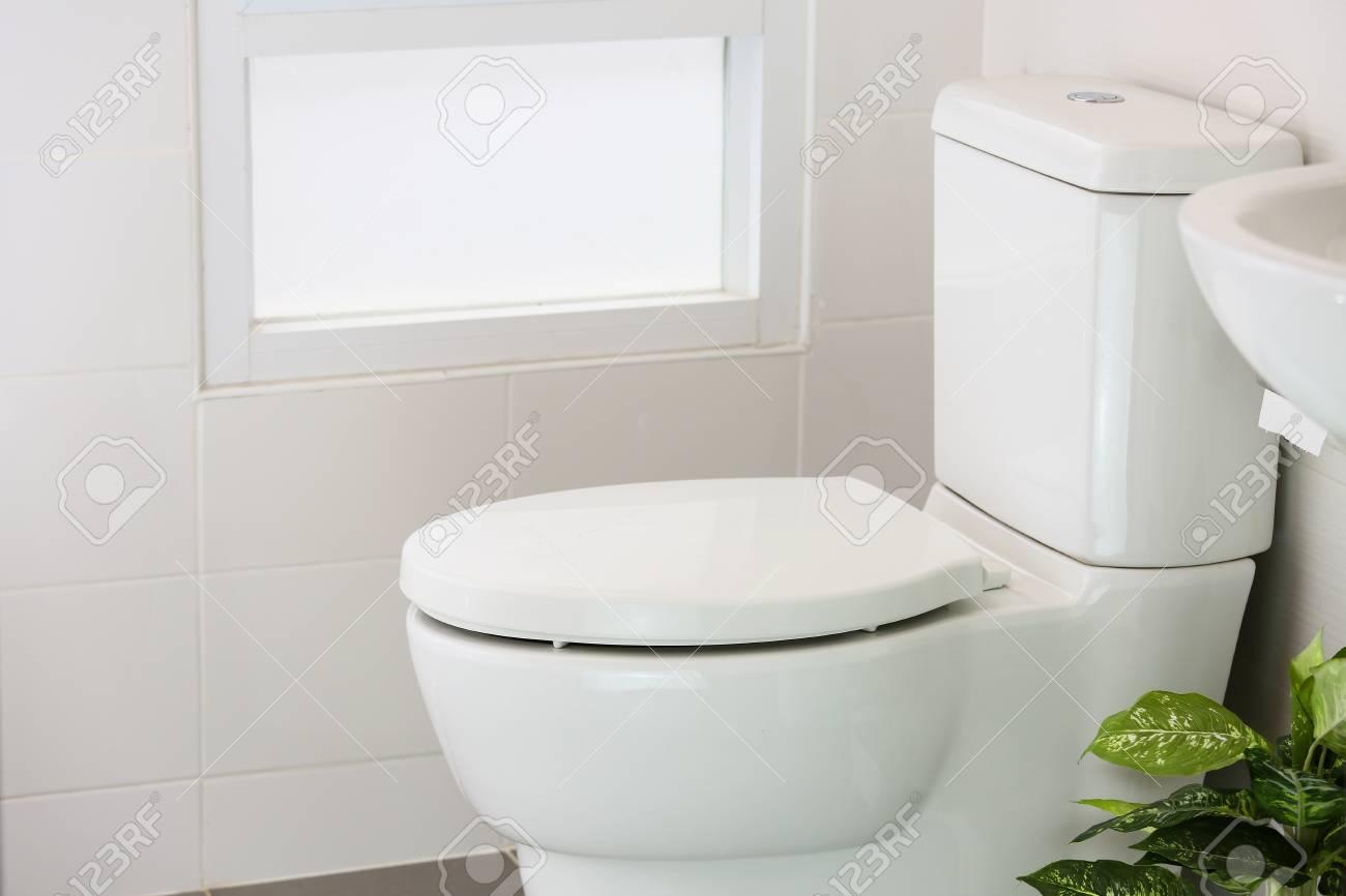 WC blanc dans la maison moderne, cuvette blanche dans la chambre de  nettoyage, liquide de rinçage dans la toilette, WC privés dans la chambre  moderne, ...