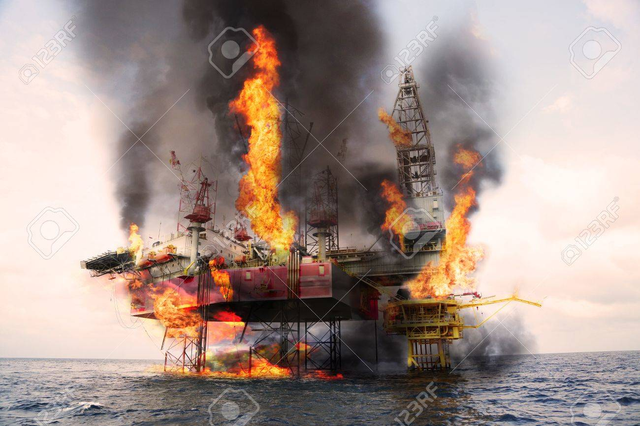 Offshore oil and rig construction damaged because worst case