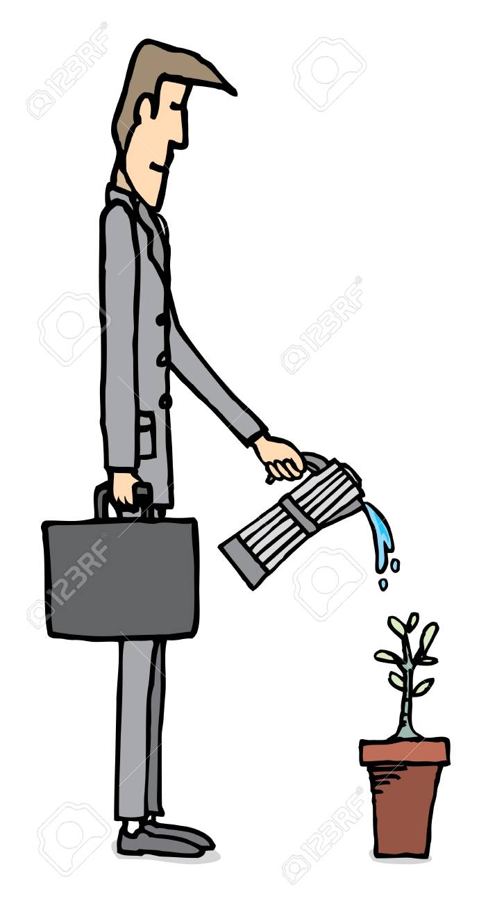 Businessman watering plant / Business growing Stock Vector - 19111810