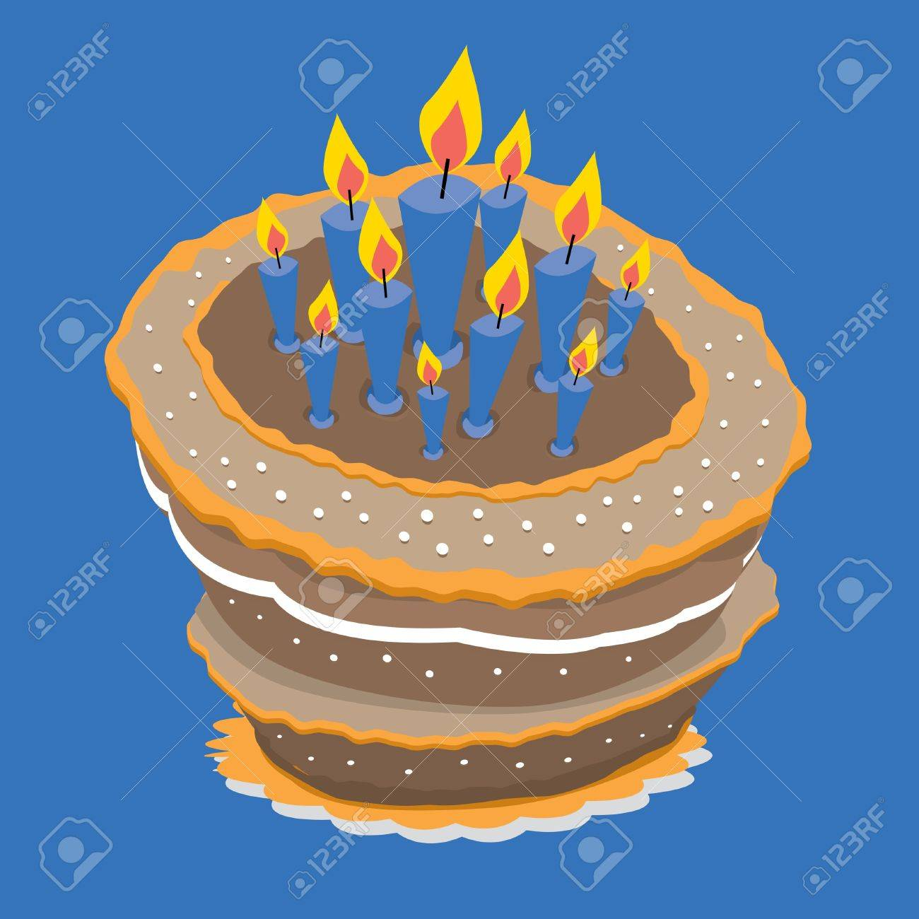 A Huge Birthday Cake With Many Candles Royalty Free Cliparts