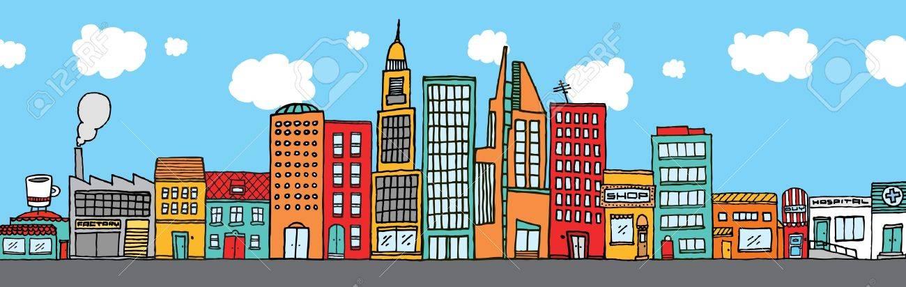 Colorful city skyline Stock Vector - 19128468