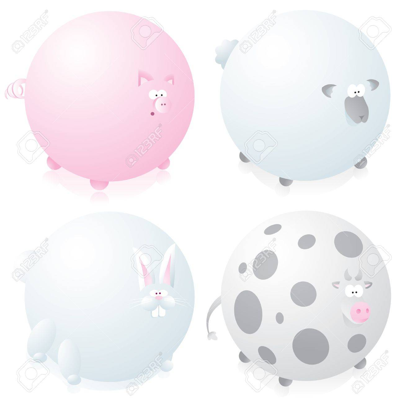 Farm round animals set Stock Vector - 19127900