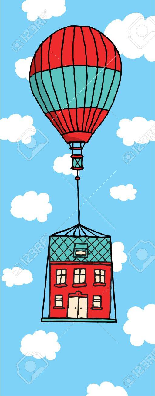 Moving house floating with balloon Stock Vector - 19128326