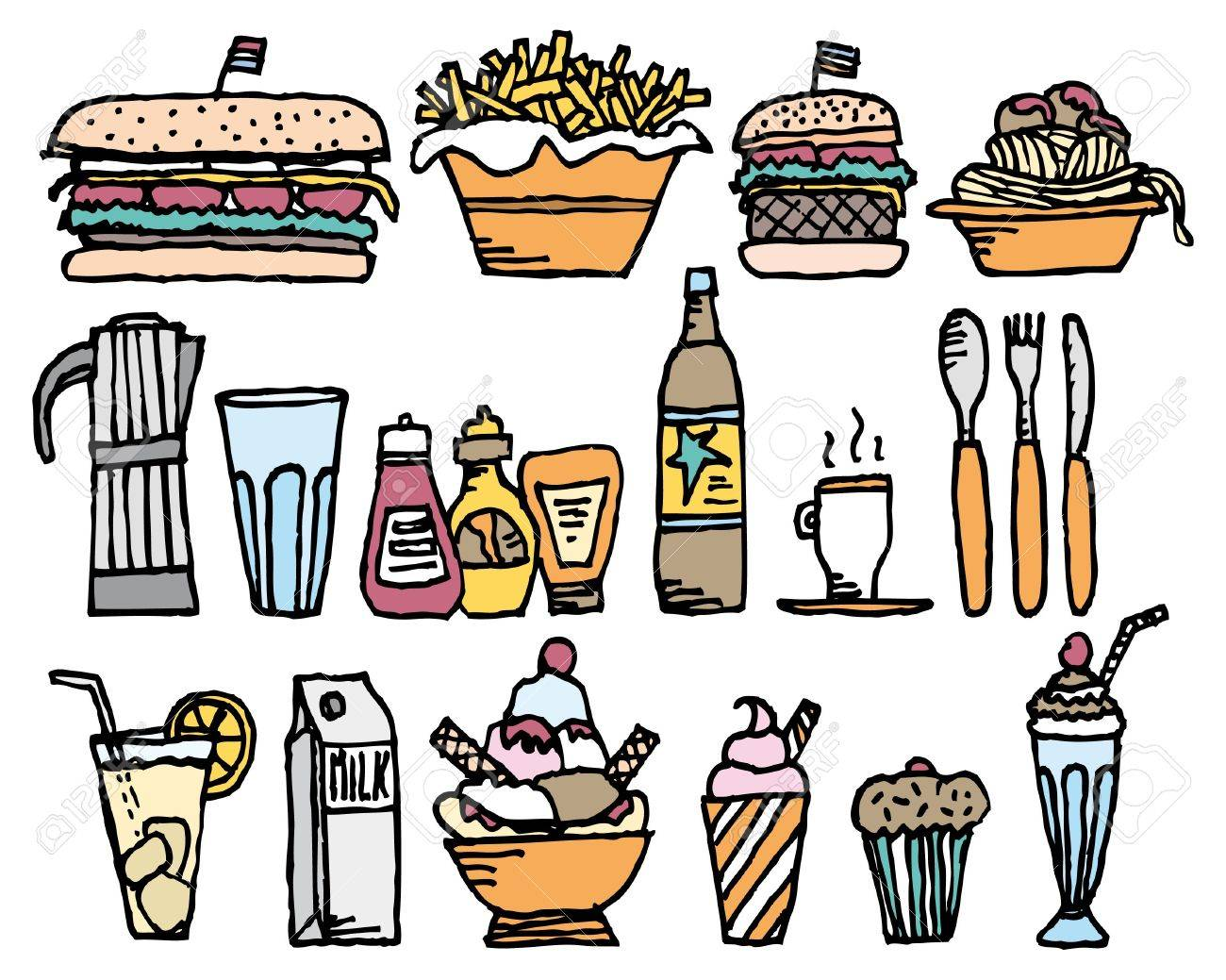 Food And Drinks / Color Restaurant Stuff Royalty Free Cliparts ...