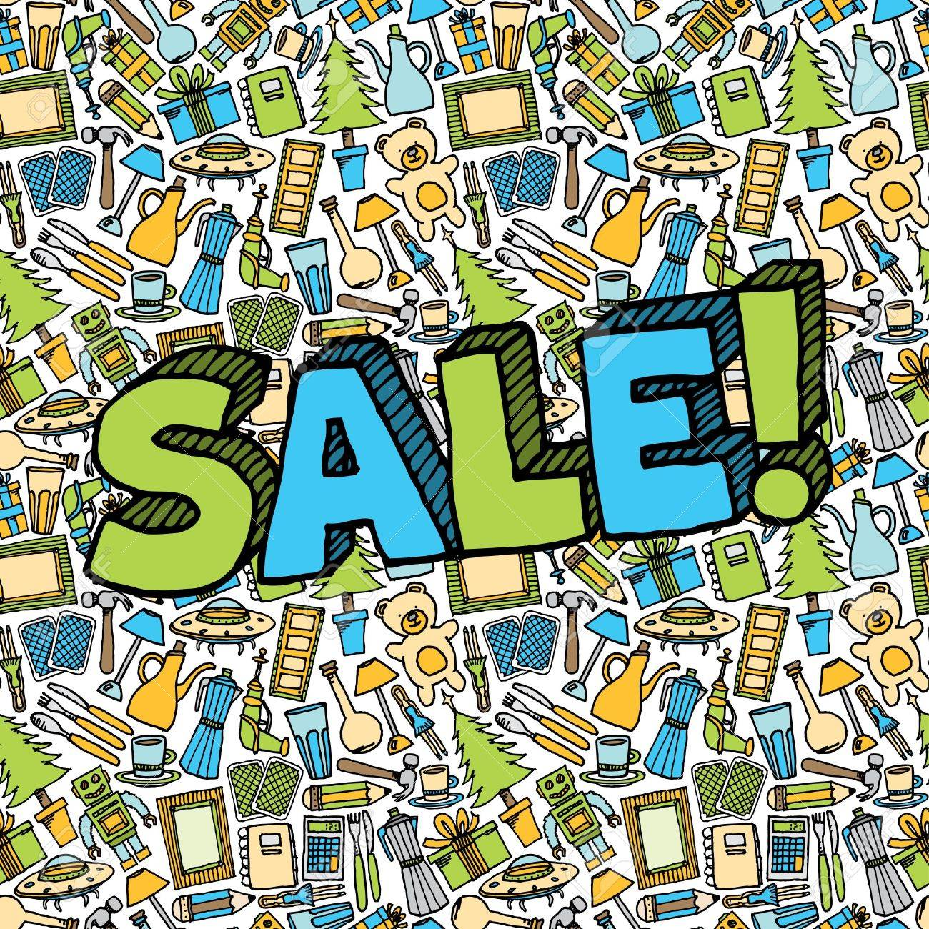 Sale of different objects seamless with text Stock Vector - 19150790