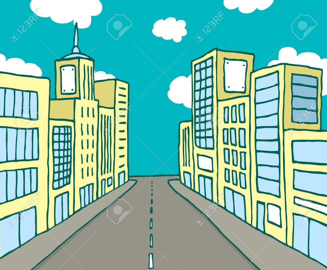 Color cartoon line city Stock Vector - 19178657