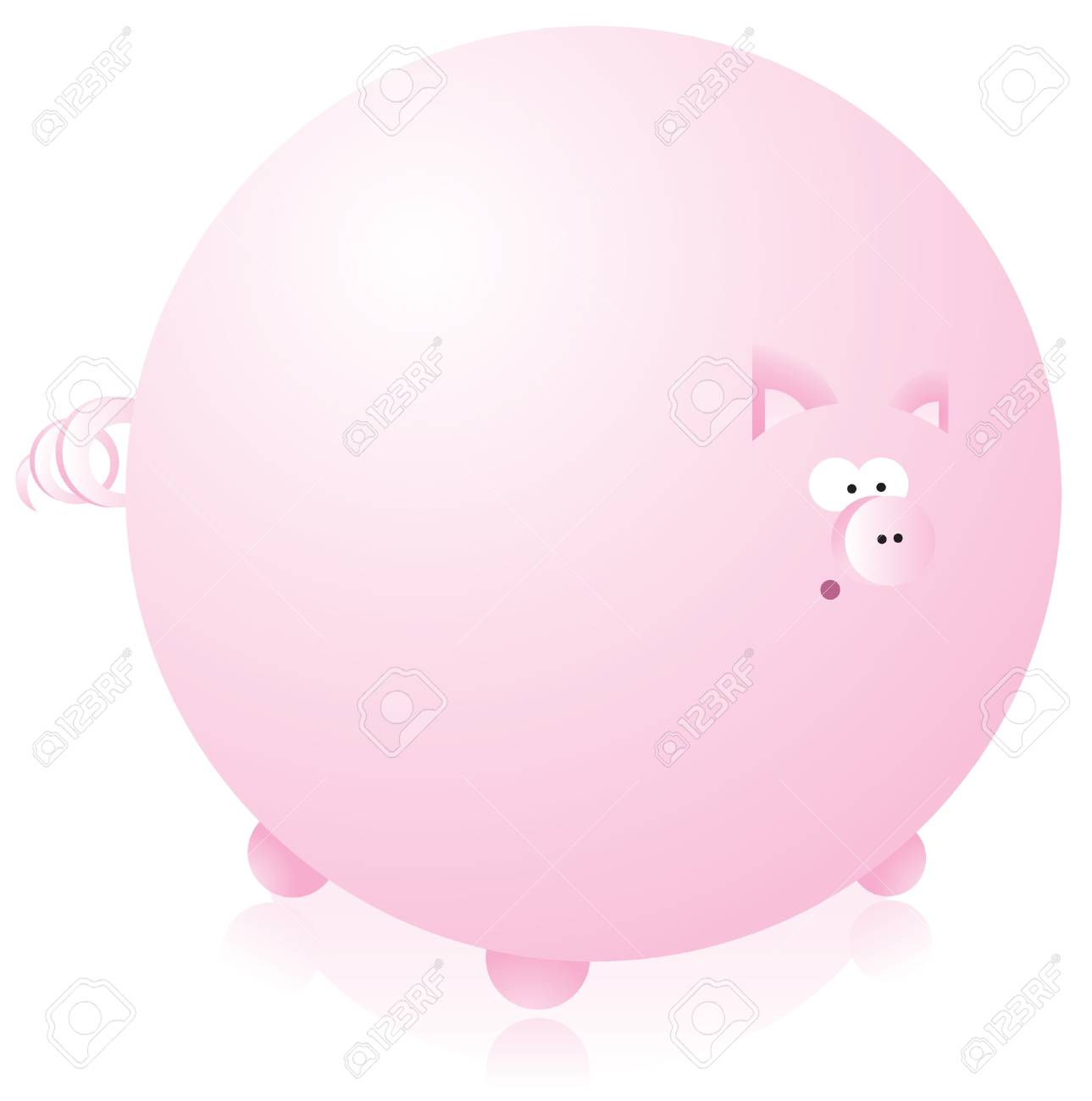 Huge round pink pig Stock Vector - 19177387