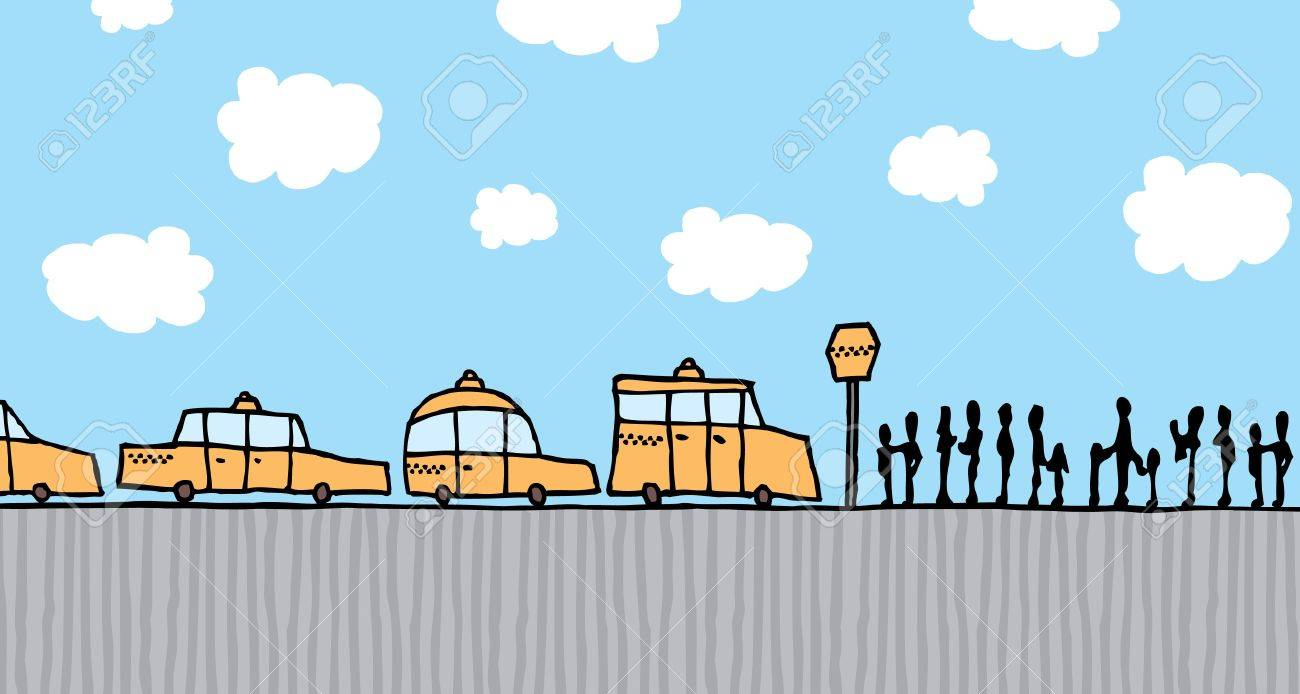 People queue waiting to board a taxi cab Stock Vector - 19178715