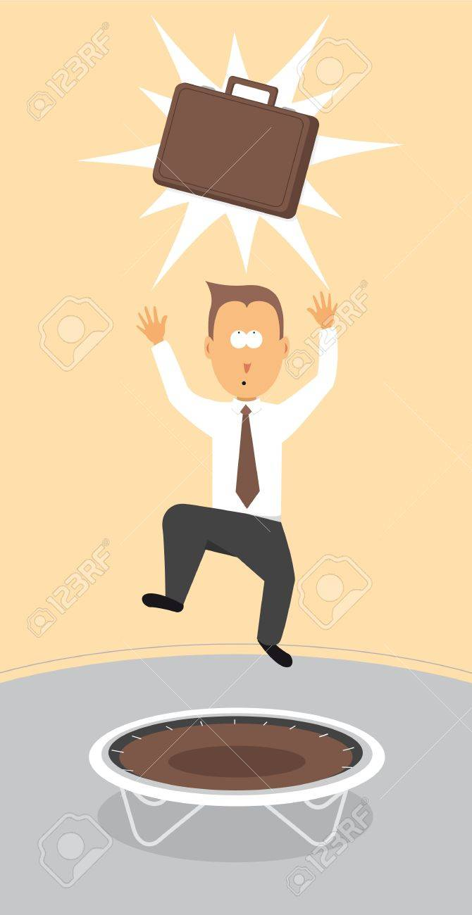 Businessman reaching for briefcase / Getting your dream job Stock Vector - 19177381