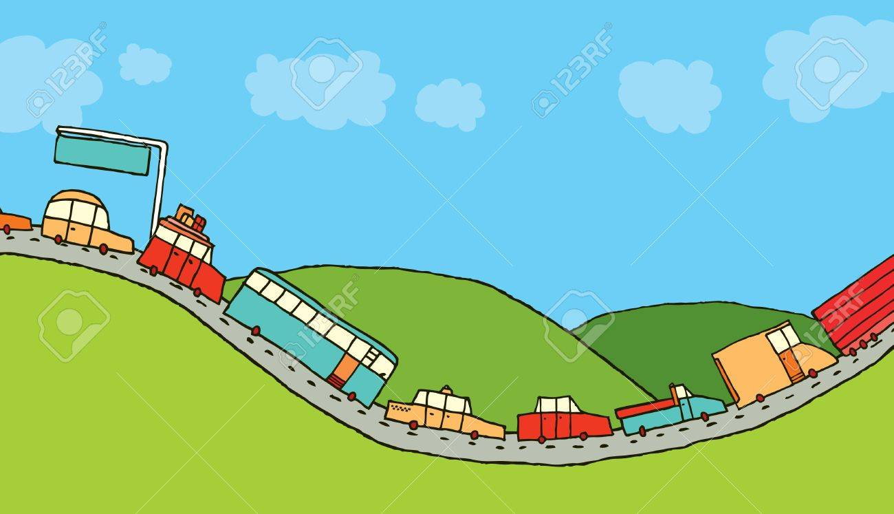 Cars queued in highway Stock Vector - 19177799