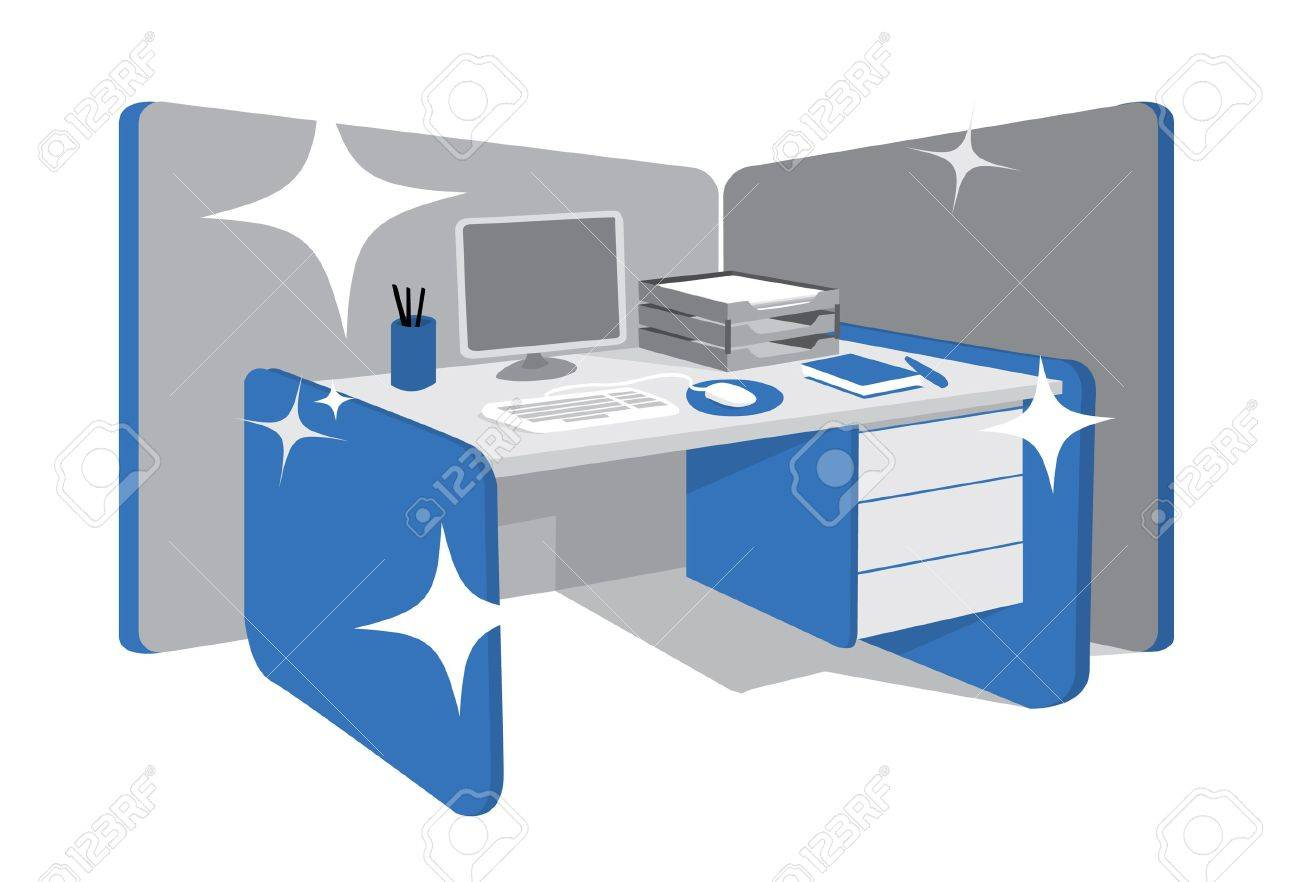 office desk clipart. clean office desk / workstation stock vector - 19177784 clipart