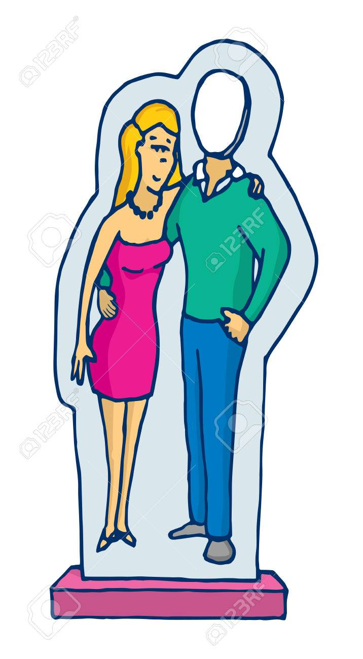 漫画の人間不在のカップルを段ボール スタンドのイラスト ロイヤリティ