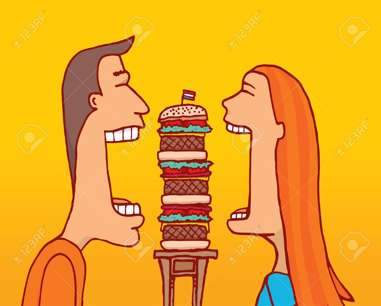 Cartoon illustration of couple sharing a huge hamburger with huge mouth Foto de archivo - 40507213