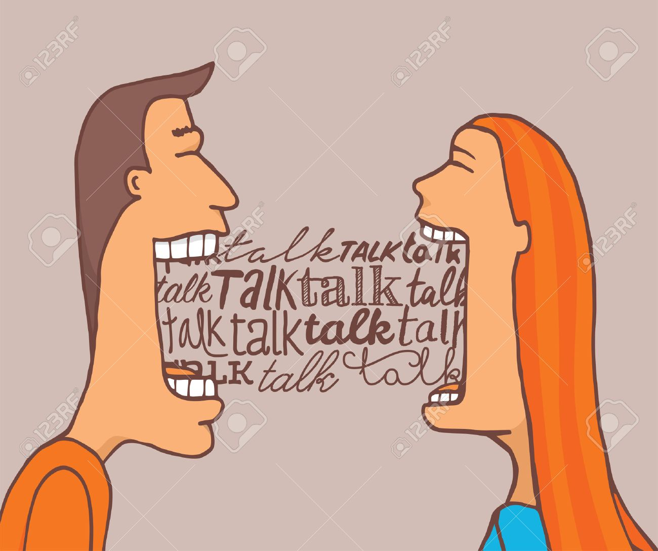 Talking  >> Cartoon Illustration Of Couple Talking A Lot And Sharing A