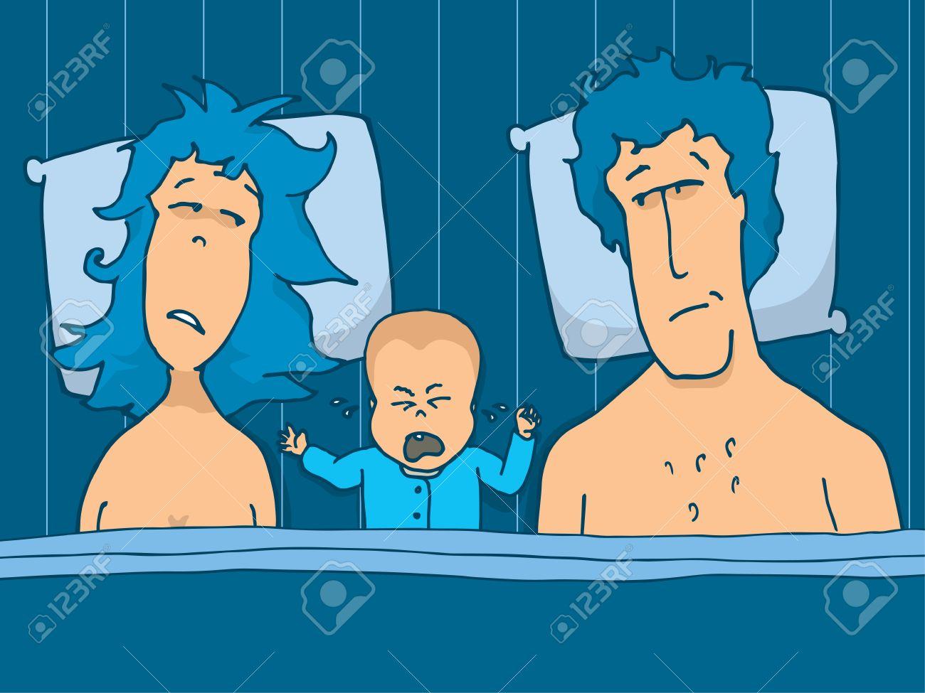 泣いている自分の赤ちゃんとベッドをカップルの漫画イラスト