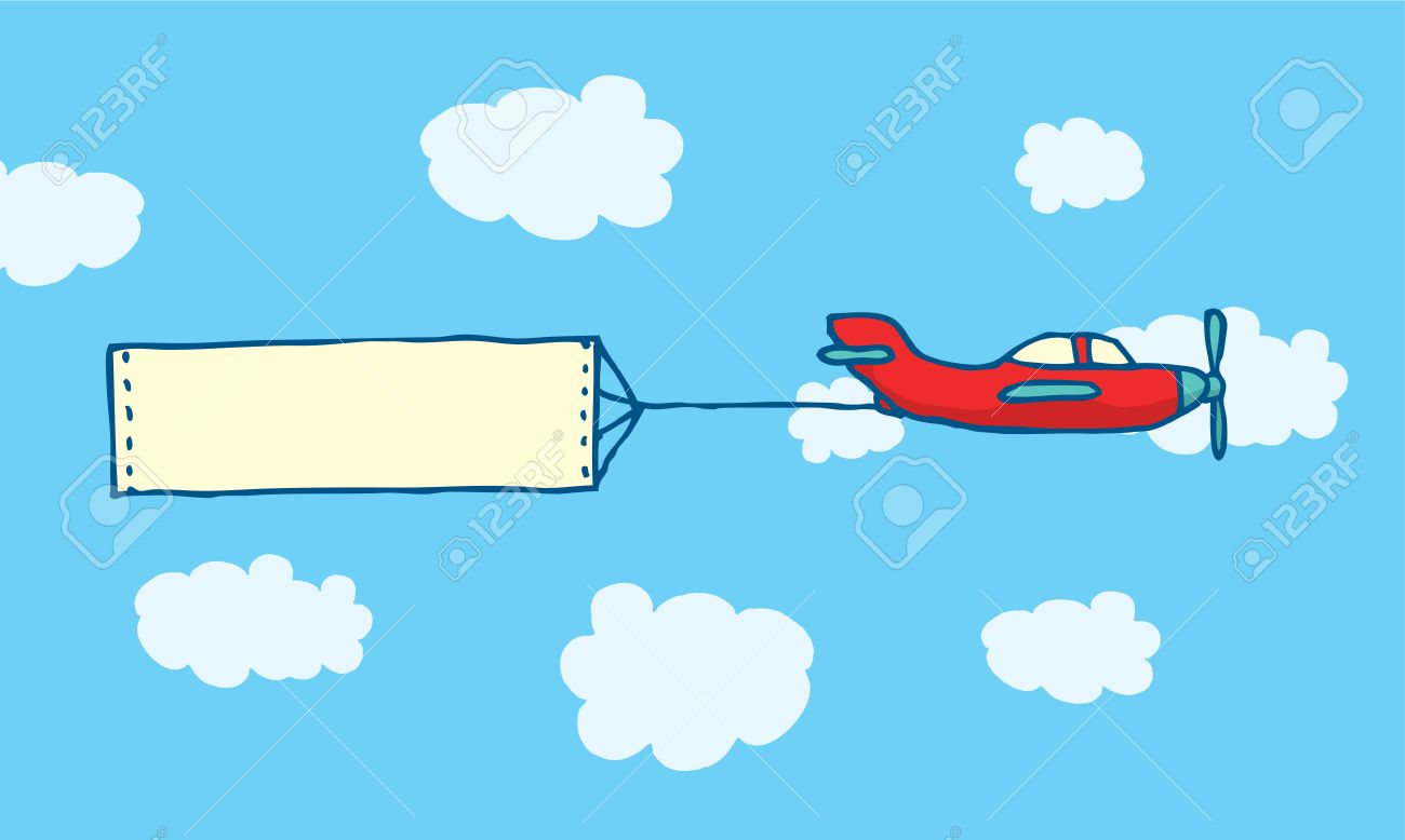 cartoon illustration of blank message on plane sign or banner rh 123rf com  airplane pulling banner clipart