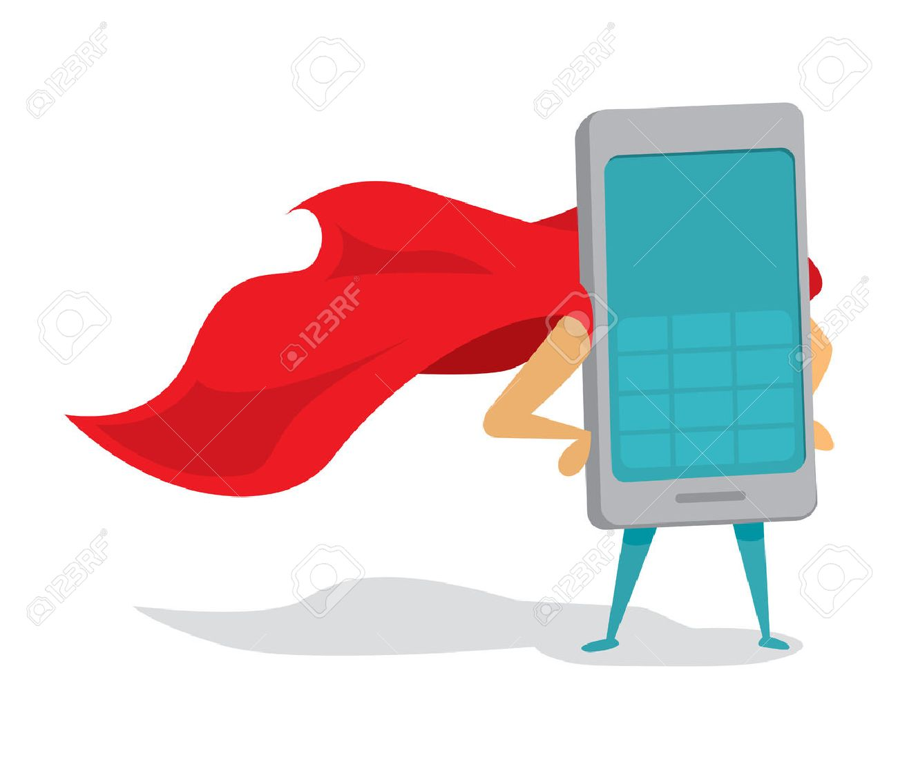 Cartoon illustration of mobile phone or super cellphone hero with cape - 51818575