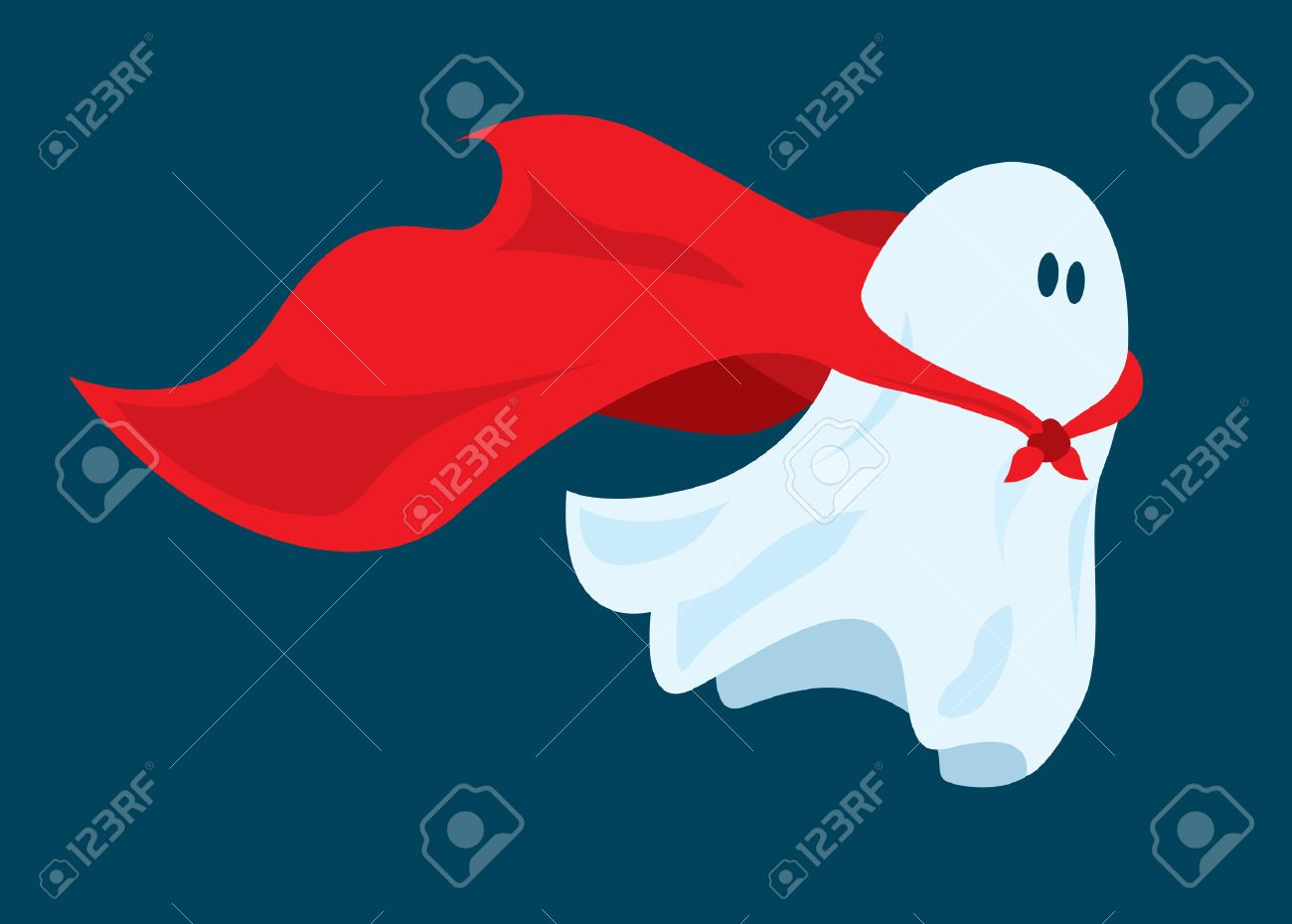 Cartoon illustration of funny super hero ghost flying with costume cape Stock Vector - 51818534 & Cartoon Illustration Of Funny Super Hero Ghost Flying With Costume ...