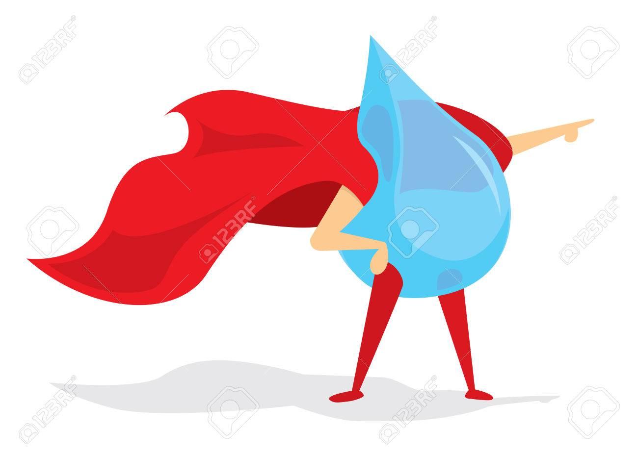 de33fef518e3c Foto de archivo - Ilustración de dibujos animados de valiente gota de agua súper  héroe