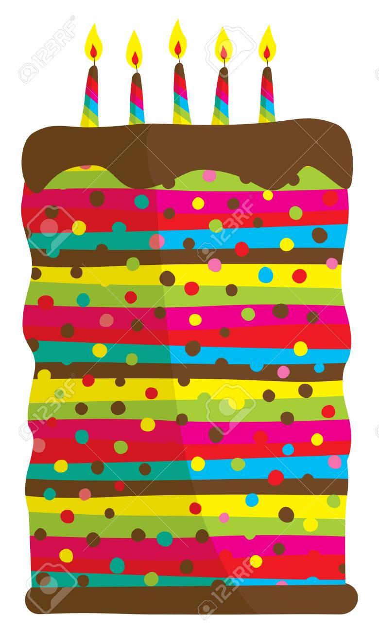 Cool Cartoon Illustration Of Huge Colorful Birthday Cake Royalty Free Personalised Birthday Cards Vishlily Jamesorg