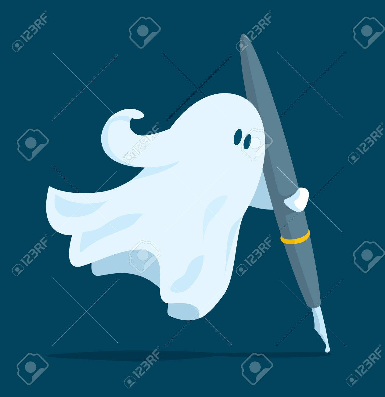 Cartoon illustration of floating ghost writer holding a pen - 81940648