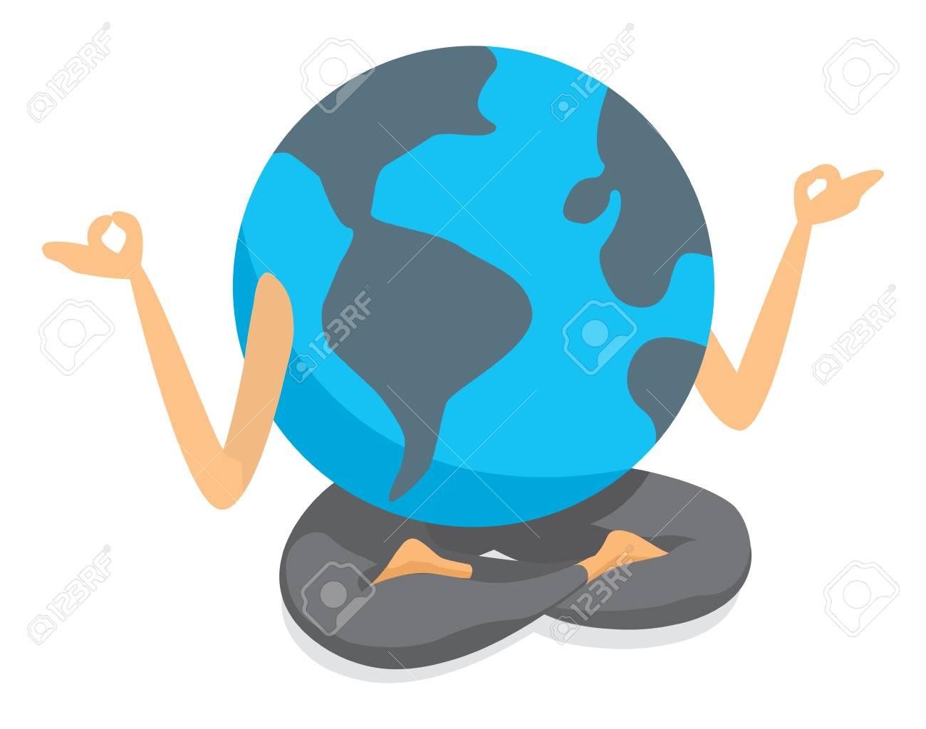 Illlustration De Dessin Animé De La Planète Terre Pratiquant Le Yoga