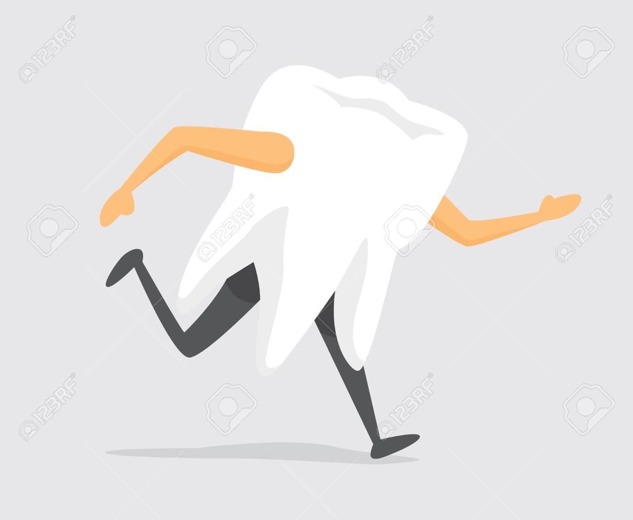 Cartoon illustration of tooth on the run - 81918846