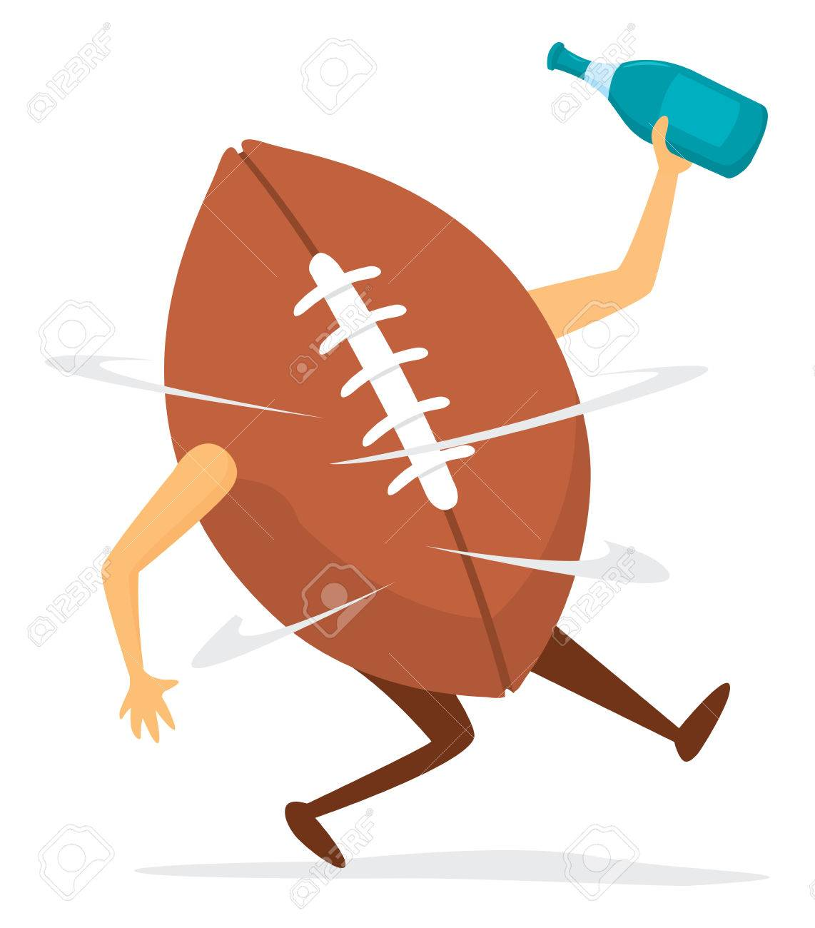 cartoon illustration of funny football dizzy after fumble royalty