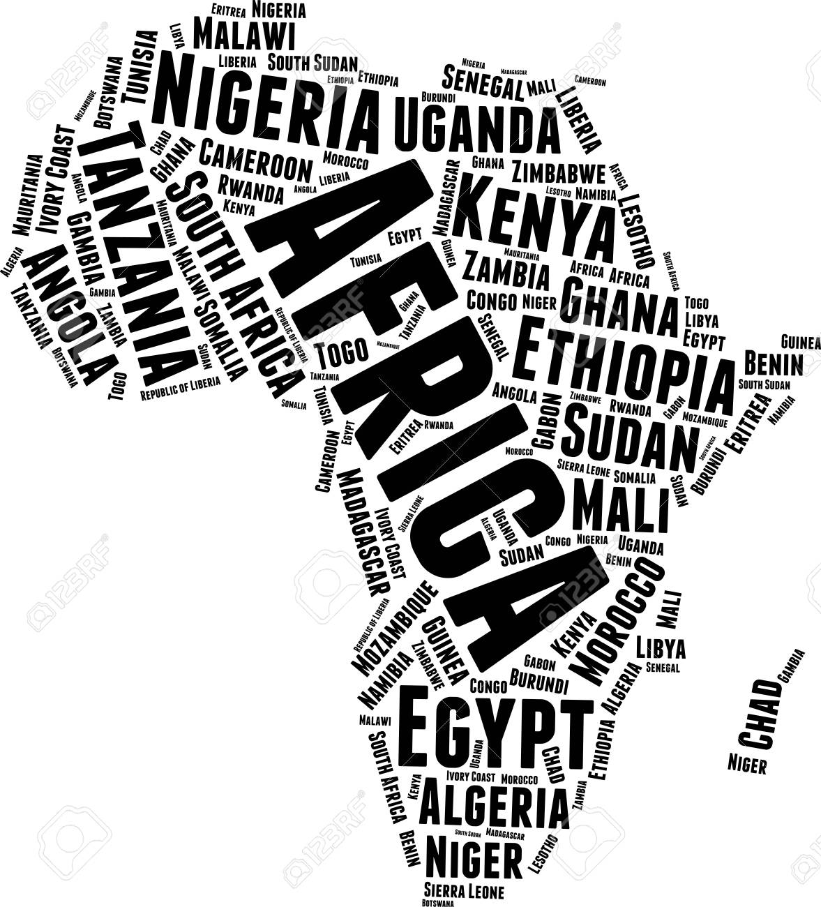 Africa Word Map Word Cloud Typography Concept Royalty Free