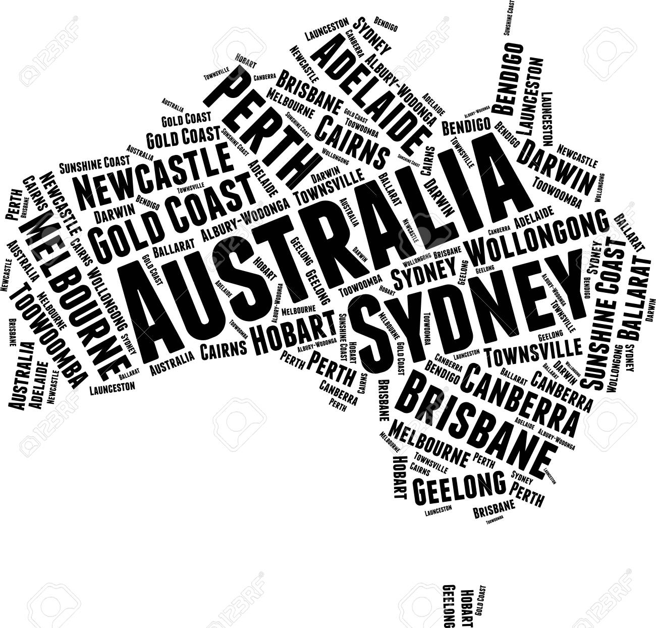 Australia Word Map.Australia Word Map Word Cloud Typography Concept