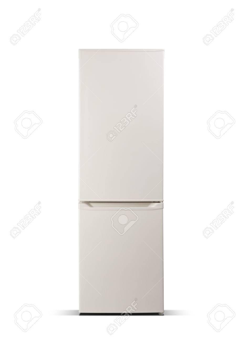 Beige Kühlschrank Isoliert Auf Weiß. Kühlschrank Mit Gefrierfach ...