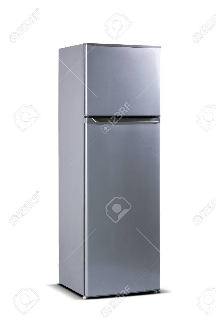 Grau Kühlschrank Auf Weiß, Top-Gefrierschrank Isoliert. Kühlschrank ...
