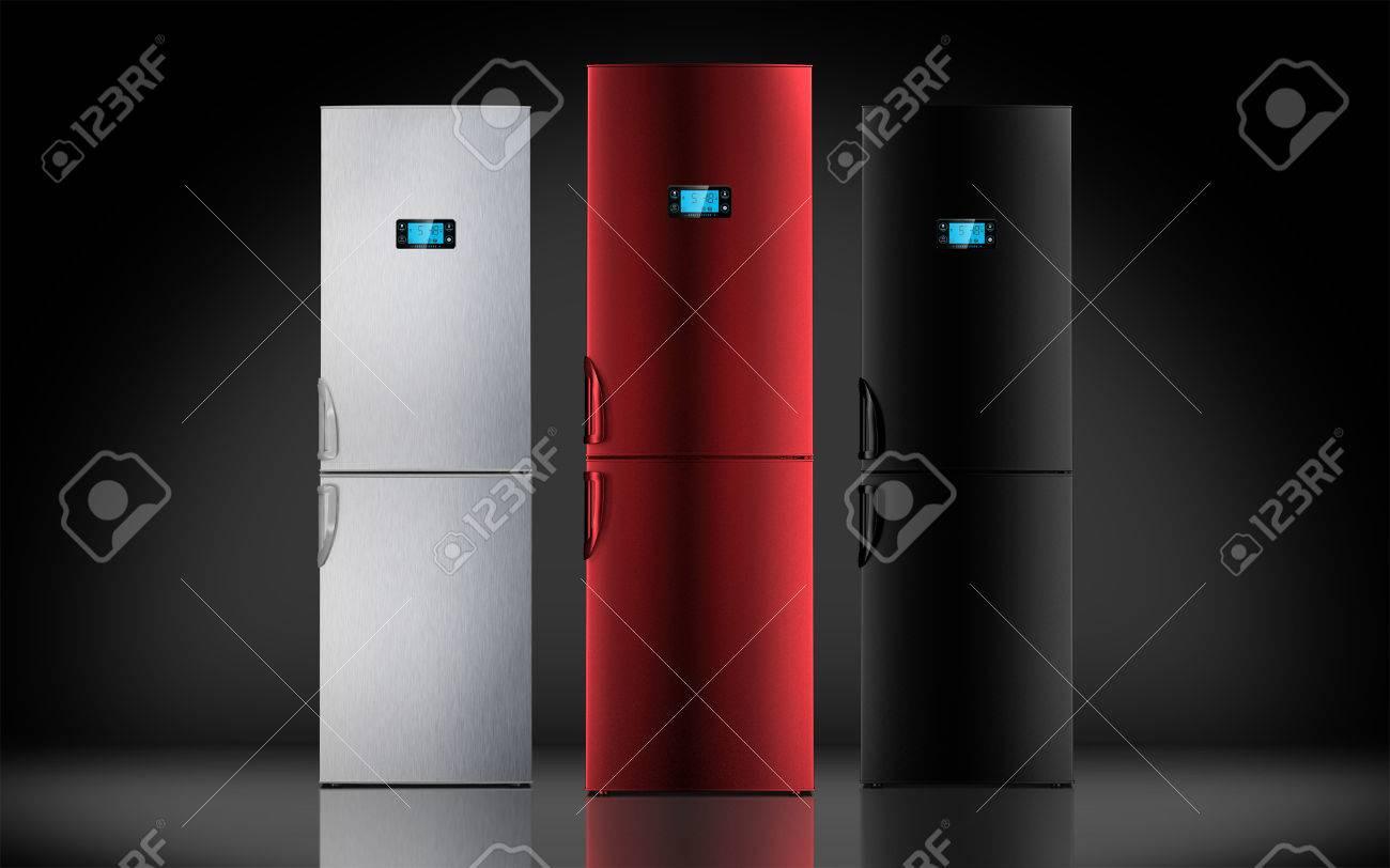Kühlschrank Farbig Retro : Red stahl und schwarzem kühlschrank lcd monitor pult