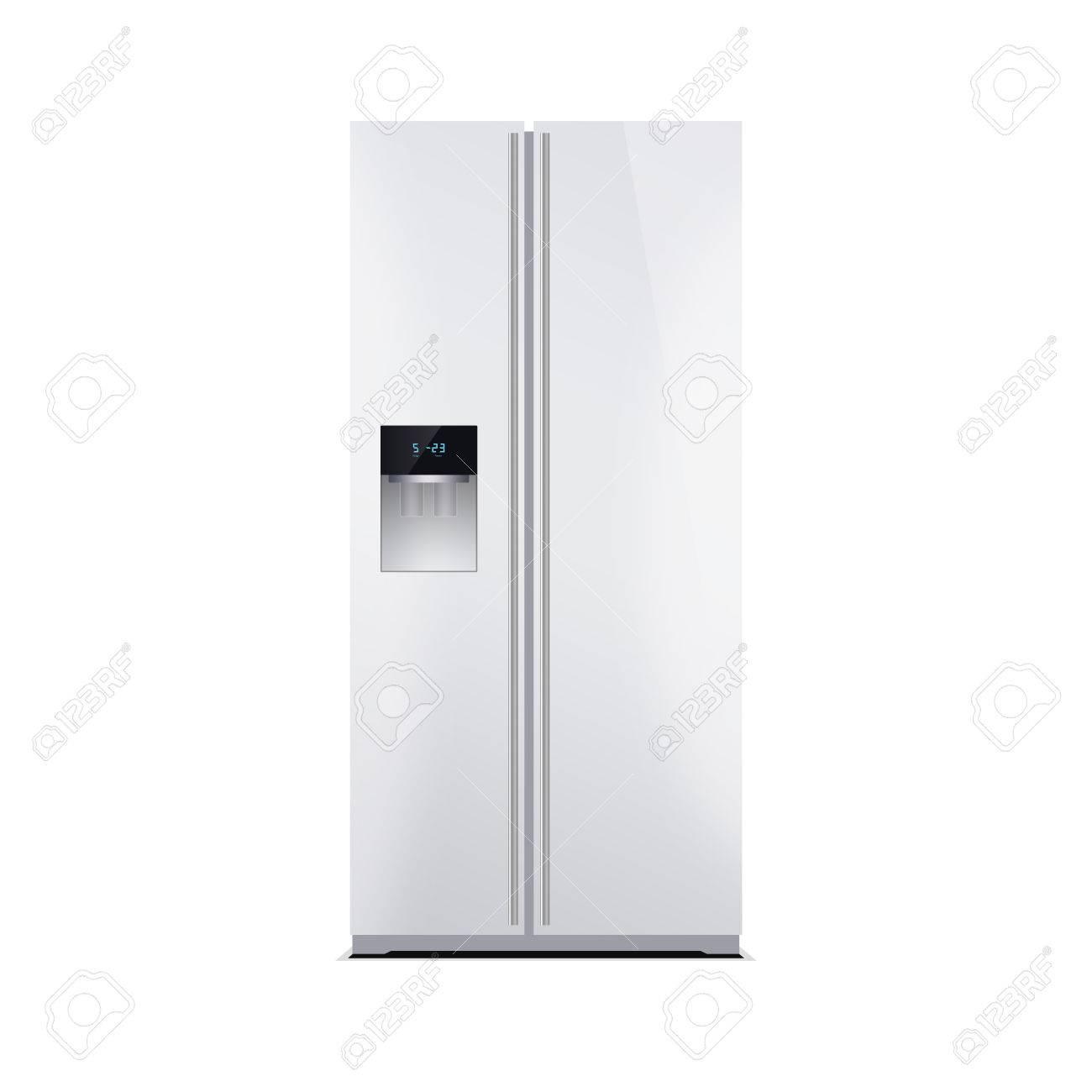 Amerikanischen Stil Kühlschrank Mit Gefrierfach, Isoliert Auf Weiss ...