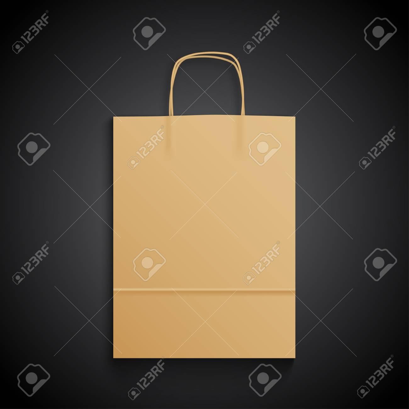 Kraft Paper Bag With Handles On Black Background Mock Up Royalty