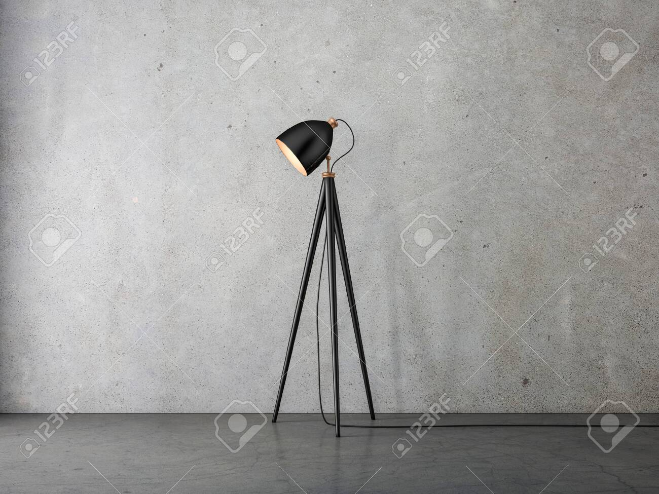 Modern Floor Lamp On Tripod In Empty Room Stock Photo Picture And Royalty Free Image Image 135370876
