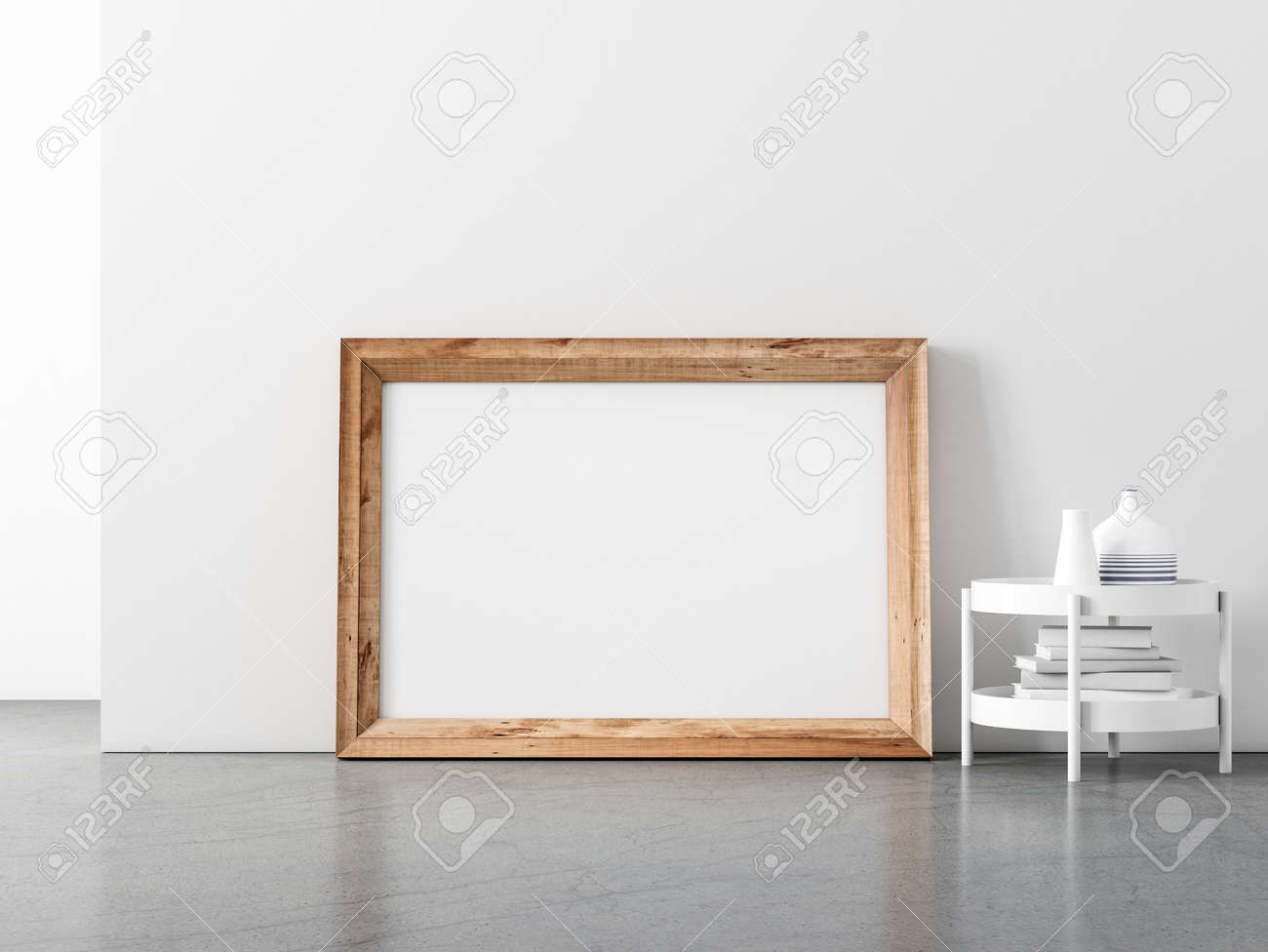 Horizontal Wooden Frame Mockup standing on the floor, for your artwork or poster - 159426792