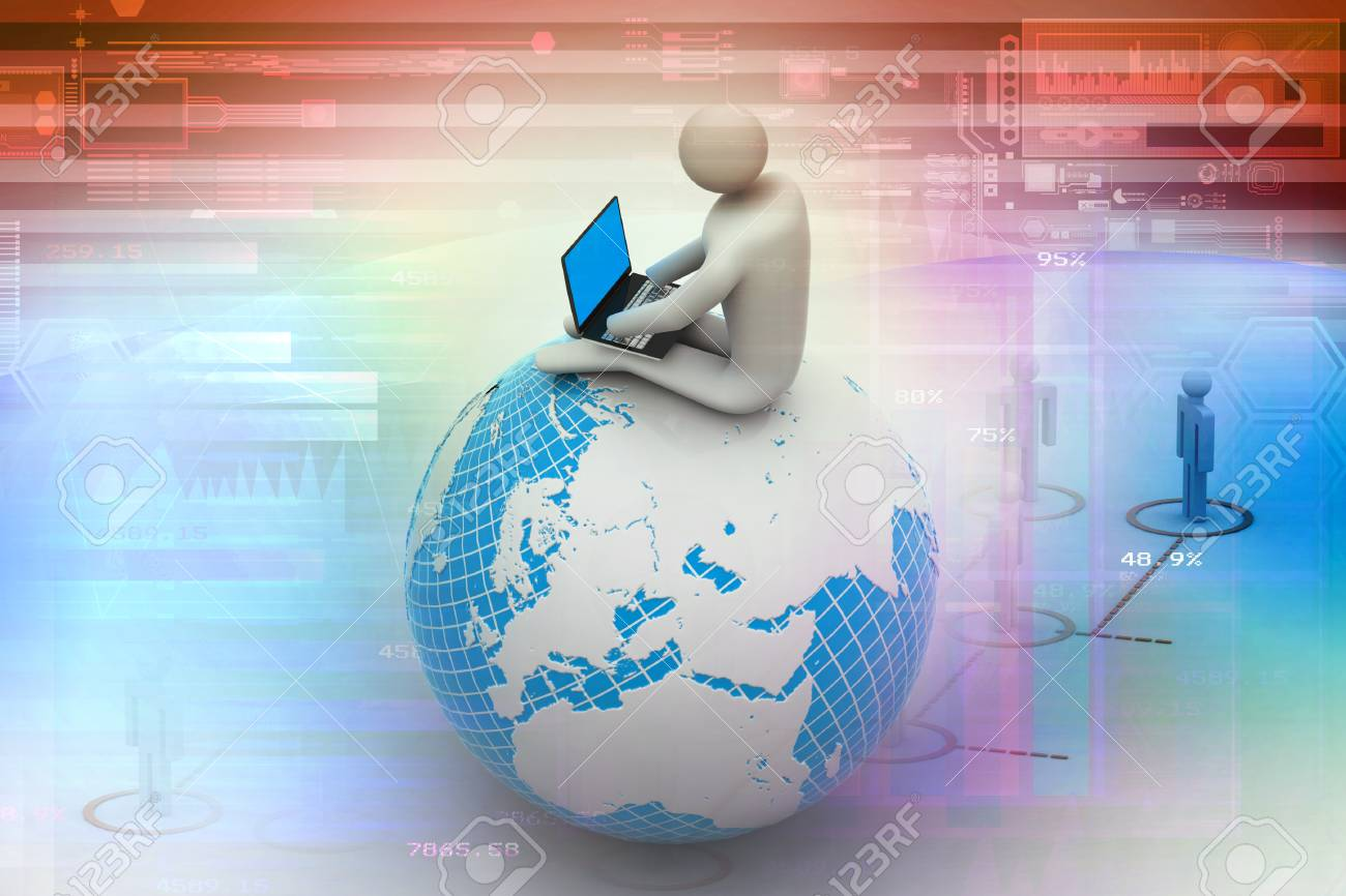 77355e9b5442 man sitting on globe with the Laptop On Top of the World Stock Photo -  24085154