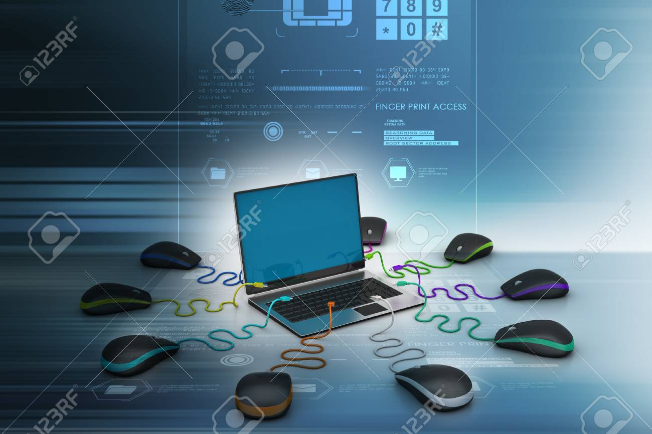 laptop computer around with mouse Stock Photo - 37719210