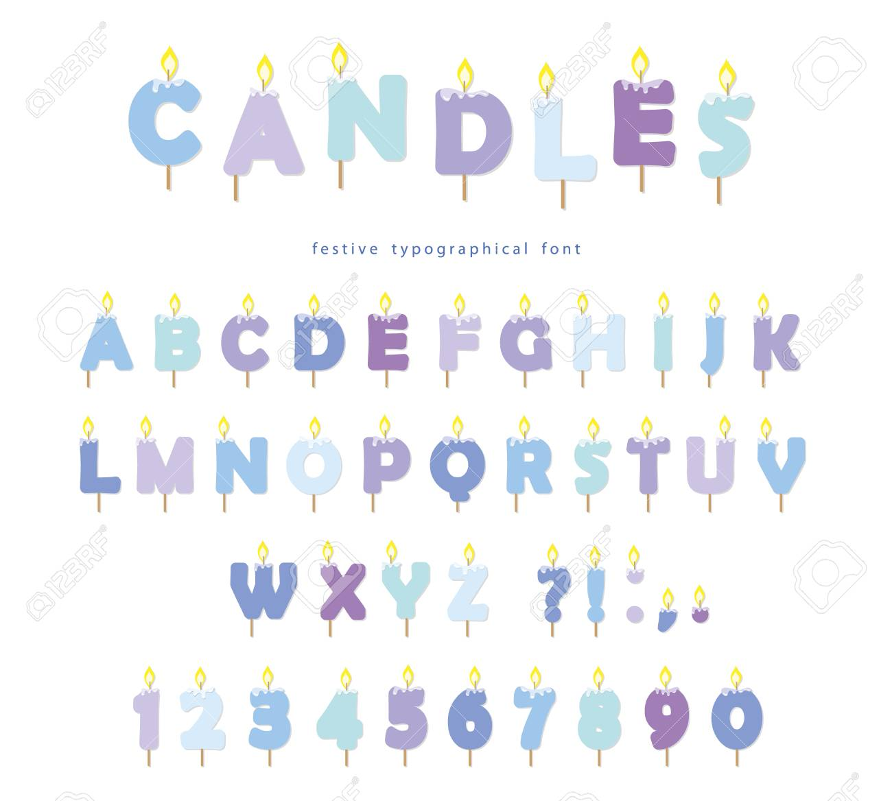 Birthday Candles Font Design ABC Letters And Numbers In Pastel Blue Isolated On White